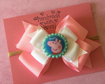 Peppa pig headband or Bow (Free Shipping in US)