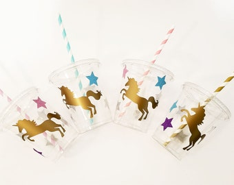 Unicorn Party Cups, Unicorn Birthday Ideas, Unicorn Themed Party Decor, Unicorn Baby Shower, Unicorn Party Favor. Treat Cups, Unicorn Straws