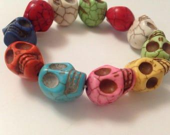 Chunky rainbow skull bracelet