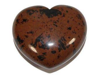 (Mahogany) 40mm mahogany Obsidian heart