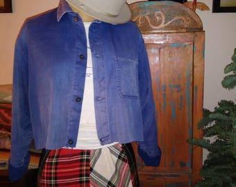Vintage indigo blue french workwear jacket.