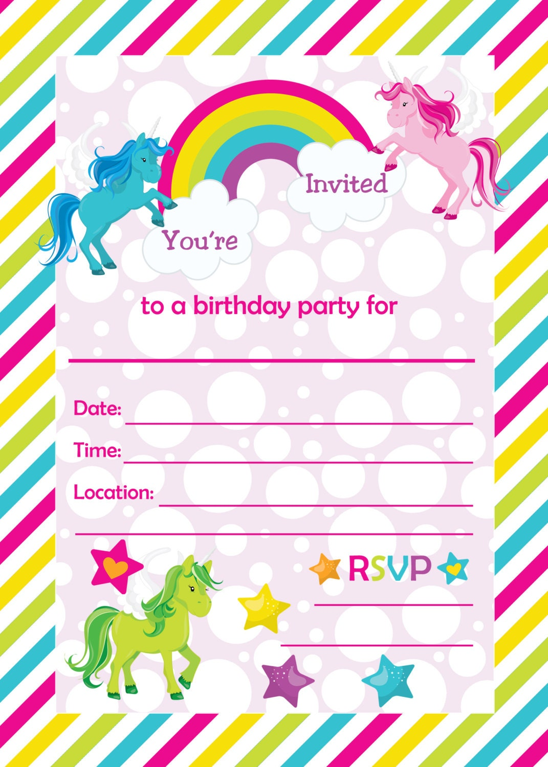 Fill in birthday party invitations printable rainbows and zoom filmwisefo Choice Image