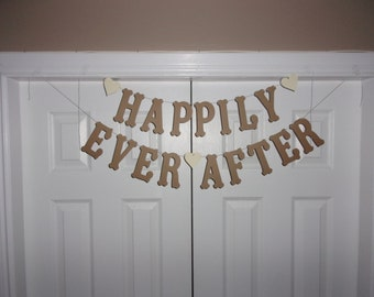 HAPPILY EVER AFTER Letter Banner Kraft & Cream Heart Cardstock Rustic Wedding Decor Banner Bridal Shower Sign Photography Photo Prop