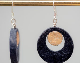 Handmade recycled paper earrings on sterling silver wire, in multiple colours.