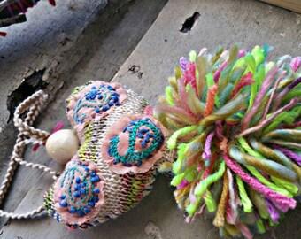 boho jewelry, neon necklace, pom pom jewelry, gypsy heart necklace, festival hippie jewelry, neon jewelry, one of a kind gift, gypsy jewelry