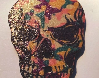 """Skull"" print wooden button purple, yellow, green spots"