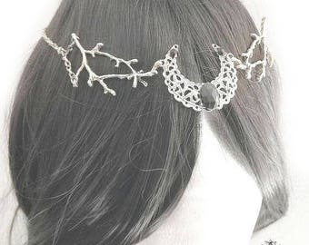 Luthiel circlet/necklace-silver gothic necklace-gothic fantasy circlet-fantasy jewelry