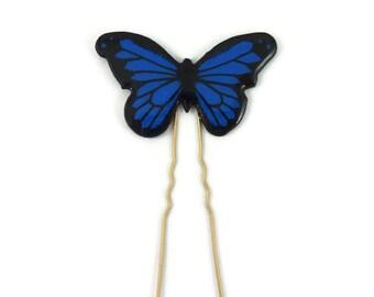 Epingle à chignon papillon Morpho bleu roi & noir, épingle à cheveux éco-responsable en plastique peint (CD recyclé), accessoire de coiffure