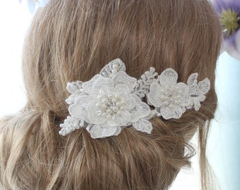 Lace hair comb, bridal headpiece, lace headpiece, flower hair comb, bridal hair comb, wedding hair comb, set of 2