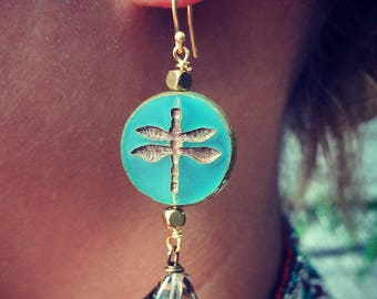 Green Dragonfly earrings, Dangle Earrings, Dragonfly Jewelry, Aqua Blue Glass Earrings, gift for her