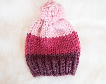 Ombre Chunky Knit Baby Hat / Child Chunky Beanie / Knit Baby Hat Pom Pom / Toddler Knit Baby Hat / Knit Child Hat