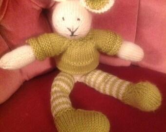 Knitted toy,knitted bunnie,knitted cot toy, knitted crib toy,handknit toy,handknit bunny, handknit rabbit,green white rabbit,bunny,child toy
