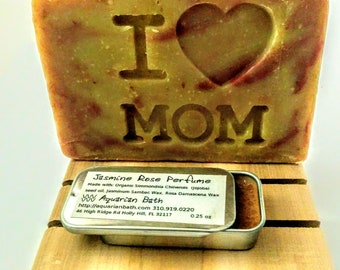 Mother's Day Jasmine Rose Gift Set - soap and solid perfume and cedar soap deck - Gift for Mom - Mothers day gift