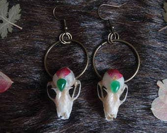 Crystal Bat Skull Earrings