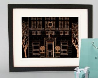 Rose gold Tiffany & Co 5th Avenue New York City, storefront, Rose gold, architecture print, Breakfast at Tiffanys print, Silver Tiffany