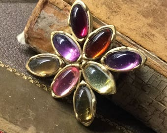 Modernist Smooth Surface Rhinestone Square or Diamond Shaped Brooch Pin Unsigned 1980's 1990's Green Purple Pink Red Clear Yellow Amber Hues
