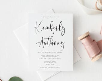 Printable Wedding Invitation   Minimal Wedding Invitations   Simple  Invitation   Modern Calligraphy   DIY Wedding Invites   Handlettering