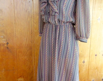 80s JONATHAN MARTIN--Sheer Ruffle Dress--Poly Chiffon--Paisleys and Stripes--Size 6