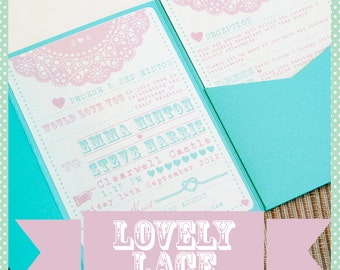 Handmade Pocketfold Wedding Invitation 'Lovely Lace' Pink and Turquoise Vintage Typography Inspired