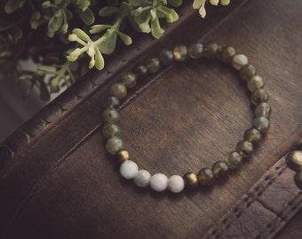Labradorite and aquamarine bracelet