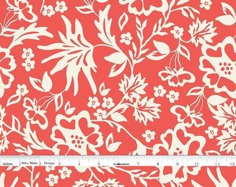 Cream and Coral Floral Fabric, Coral Floral Quilt Fabric, Riley Blake Apricot & Persimmon C4901 Floral Coral, Carina Gardner, Cotton