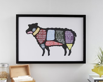 """Lamb Butcher Diagram - """"Use Every Part of the Lamb"""" detailed cuts of lamb poster"""