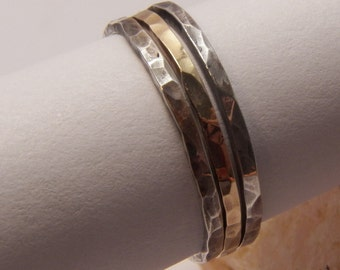 Sterling silver and Gold filled stacking rings with hammered sparkly texture