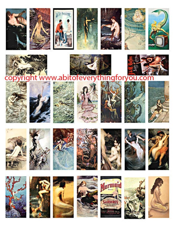 "vintage sea nymphs mermaid sirens painting drawings clipart digital download domino collage sheet 1"" x 2"" inch graphics images printables"