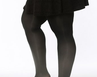 Plus Size Tights grey - black
