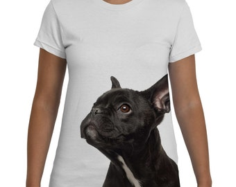 French Bulldog, Womens Tshirt, Dog Tee, Black and White, Animal