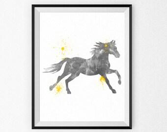 Grey Nursery Art Print - Horse Watercolor Painting - Child's Room - Children's Art - Nursery Canvas - Nursery Painting