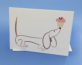 Happy Birthday Dachshund Card Doxie Card GilmoretheDachshund Blank Card Blank Wiener Dog Card