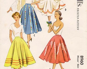 """Waist Sz 26"""" - Vintage 1950s Skirt Pattern - McCall 8960 -  Misses' Easy, Flared Circle Skirt in Four Variations - McCall's Patterns"""