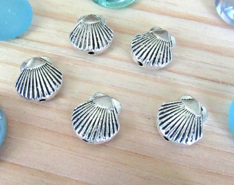 Seashell beads charms, set of 10, silver ocean beads, focal beads, spacers beads, summer beads, sea life beads, shell beads, sea beads