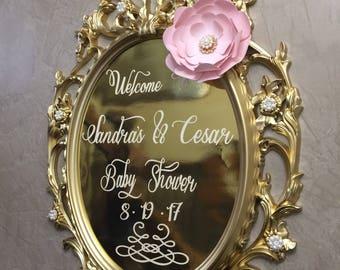 gold wedding sign, baroque frame Welcome Sign, nursery frame, baroque frame sign
