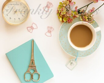 Instagram Square / Mint Green & Pink Lifestyle Stock Image / Styled Stock Photography / Stock Photo / Flatlay / Frankly Photos File #38sq