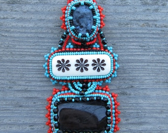 Bead Embroidered Gemstone Necklace