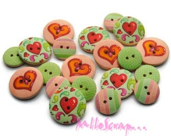 Set of 20 buttons decorated wood collection Fun Fair embellishment scrapbooking (ref.110) *.