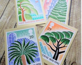 Kew Gardens PHQ Cards, vintage postcards, vintage PHQ postcards, Post Office Picture Cards Gardens, Gardens postage stamp cards, palm house