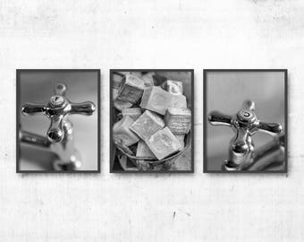 Bathroom Wall Decor Set of 3 Prints,  Black & White Photography, Bathroom Art Collection, French Taps, Bath Soaps, Hot and Cold WC Decor