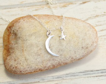 Sterling Silver Moon and Star Necklace --  Choose How Many Stars You Would Like