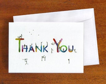 Thank You Card, blank greeting card, colourful card, stick figures, quirky art card