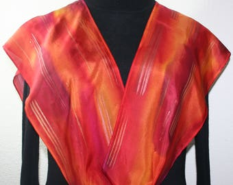 Orange, Red Hand Painted Silk Scarf FIRE DREAMS. Handmade Silk Shawl Offered in 2 SIZES. Birthday Gift, Bridesmaid Gift.