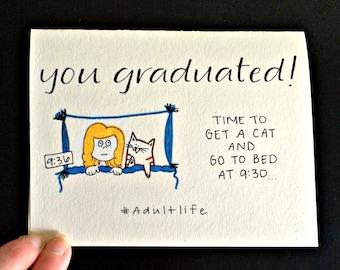 Funny Graduation Card / 2018 Graduate / Cat Graduation Card / Graduation Card Funny