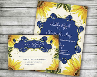 Sunflower Marriage Invitation with RSVP Card ~ Blue and Yellow, Customized Printable Invite, Anniversary, Couples or Bridal Shower, DIY
