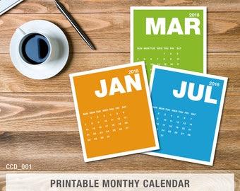 Calendar 2018, Instant download, printable, Calendar, PDF, Monthly Desk Calendar