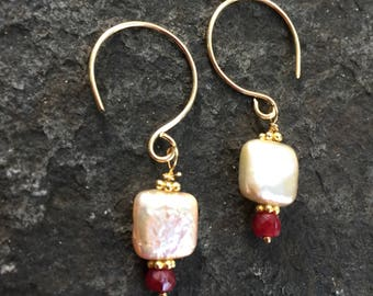 Ruby and  Creme Square Pearl Dangles    Boho Jewelry    Ruby Earrings    Sundance Style  Pearl Earrings  Dainty Earrings  July Birthstone