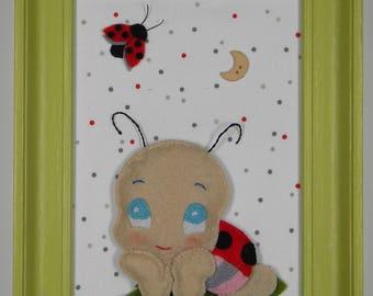 Ladybug love child's room decor frame