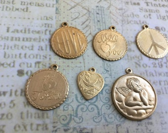 Assortment of Small love and peace Charms Set of 6 Brass, Vintage Tooled Charms, Made in USA, Raw Brass