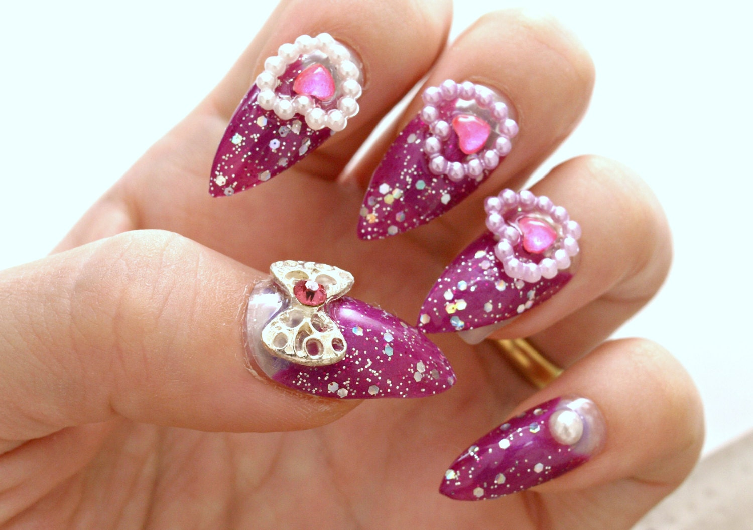 Stiletto nails gyaru hime purple nail bows heart acrylic zoom prinsesfo Gallery
